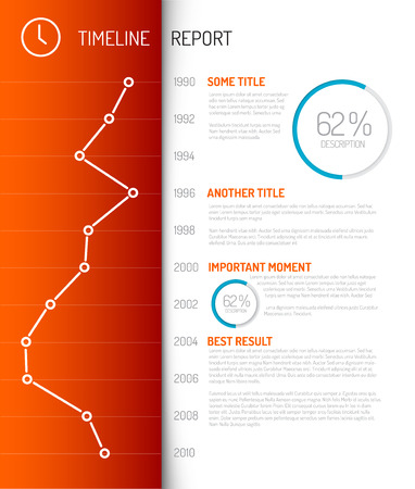 flat background layouts: Vector Infographic timeline report template with charts and graphs