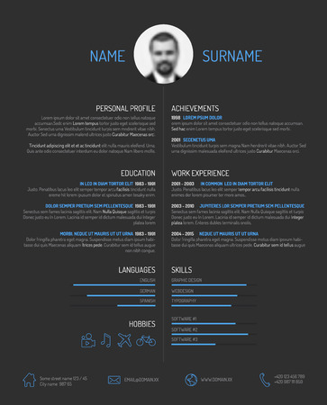 curriculum: Vector minimalist cv  resume template - minimalistic dark version Illustration