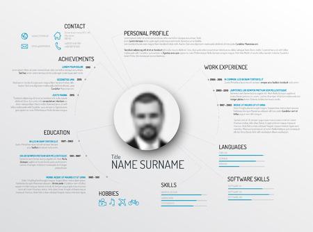 profil: Wektor oryginalny minimalistyczny cv  CV szablon - kreatywne wersja