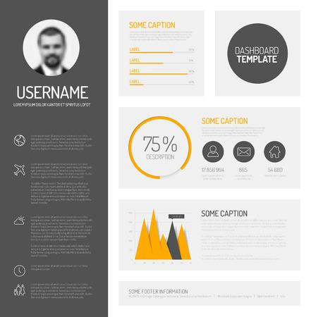 profil: Simple profil deska rozdzielcza z płaskimi grafów i wykresów projektowych Ilustracja