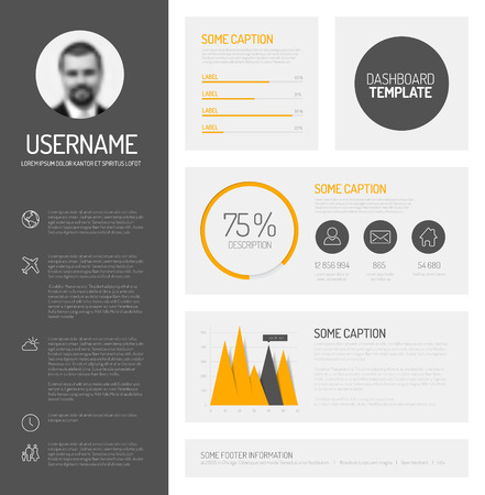 graphs and charts: Simple profile dashboard template with flat design graphs and charts