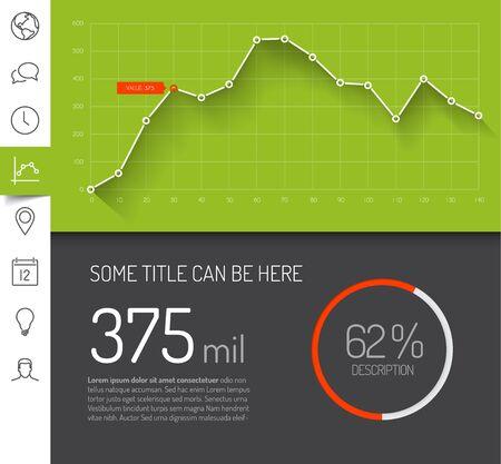 フラットなデザイン グラフとチャートの緑バージョンの簡単なインフォ グラフィック ダッシュ ボード テンプレート  イラスト・ベクター素材