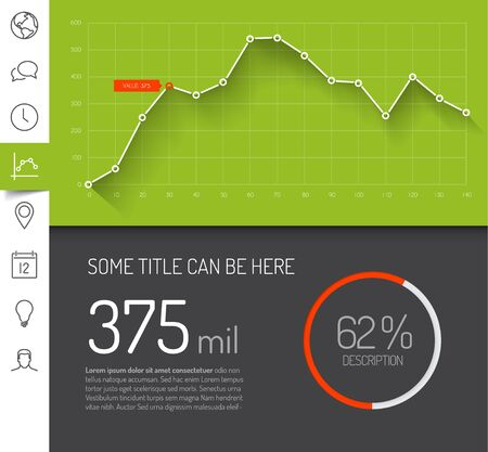 dash: Simple infographic dashboard template with flat design graphs and charts - green version