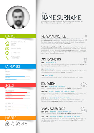 cv: Vector minimalist cv  resume template - light color version