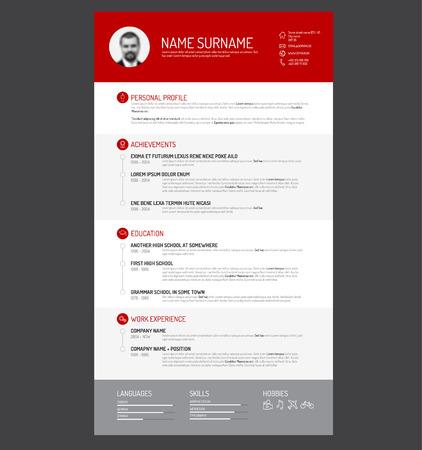 hoja de vida: Vector minimalista plantilla cv  resume