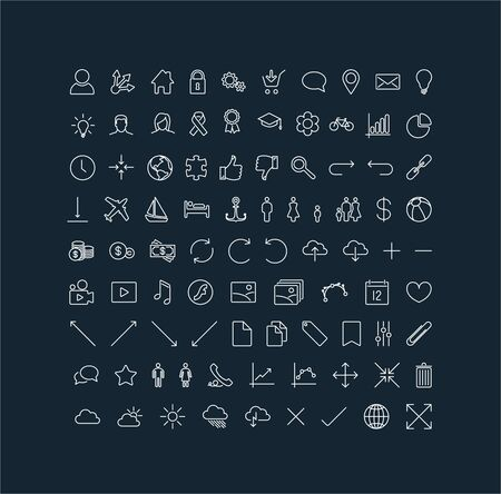 Big modern Vector thin line icon collection (white on dark background) Vector