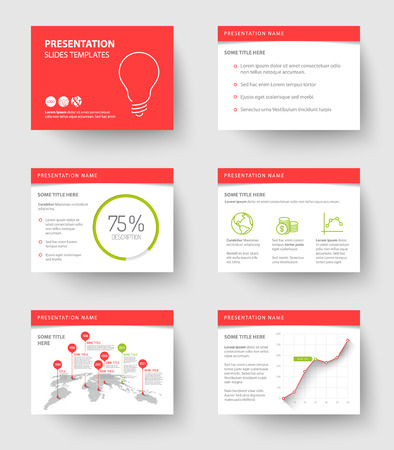slide show: Vector Template for presentation slides with graphs and charts - red and green version