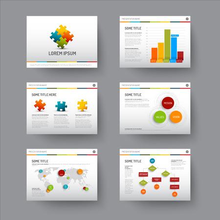 グラフやグラフを使ったプレゼンテーション スライドのベクトル テンプレート