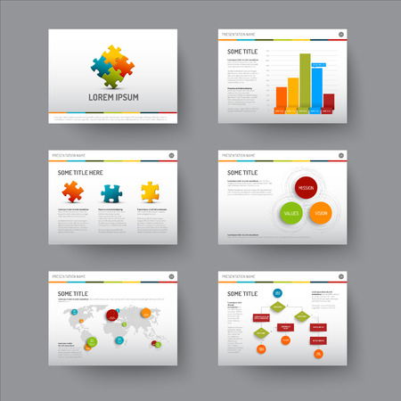 Vector Template for presentation slides with graphs and charts Vector
