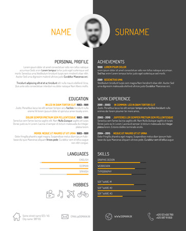 description: Vector minimalist cv  resume template - dark color version