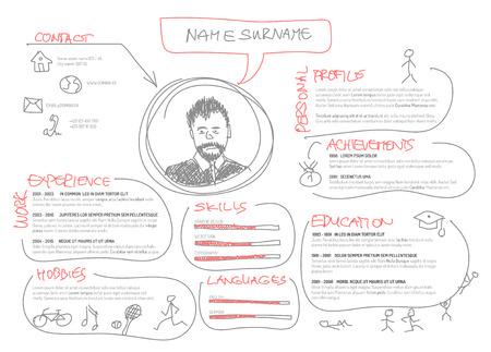 Vector original minimalist cv / resume template - creative doodle version