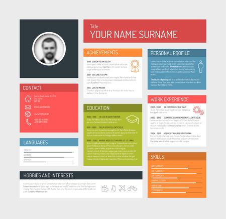 profil: Wektor minimalistyczny CV  CV profil szablon deski rozdzielczej Ilustracja