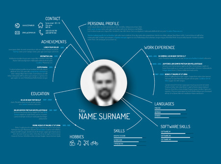 Vector original minimalist cv / resume template - creative blue version Illustration