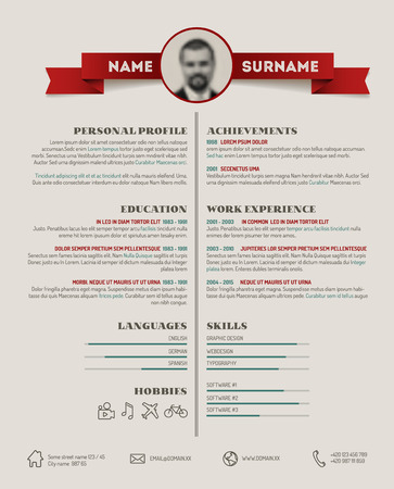 vitae: Vector original minimalist cv  resume template - retro version
