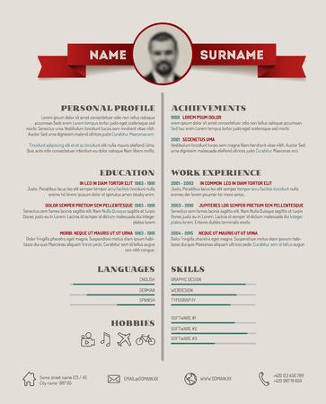 personal profile: Vector original minimalist cv  resume template - retro version