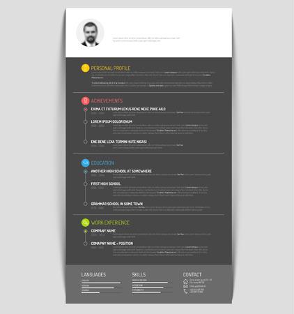 minimalist: Vector minimalist cv  resume template - dark color version