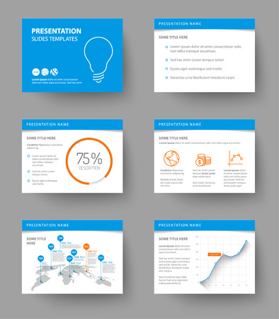 slide show: Vector Template for presentation slides with graphs and charts - blue and orange version Illustration