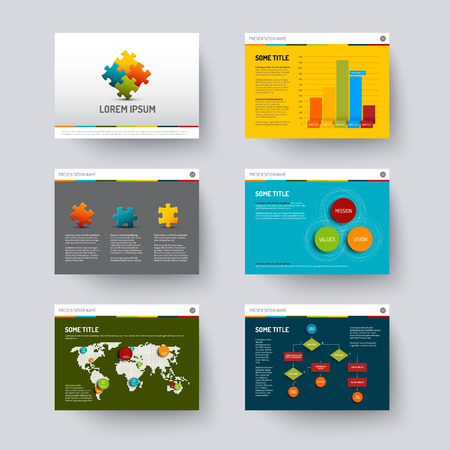 slides: Vector Template for presentation slides with graphs and charts