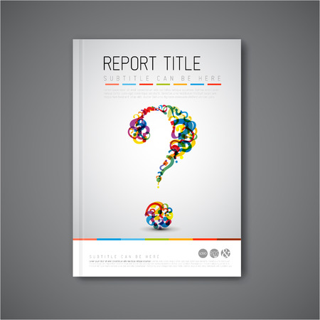 Modern Vector abstract brochure  book  flyer design template with question mark