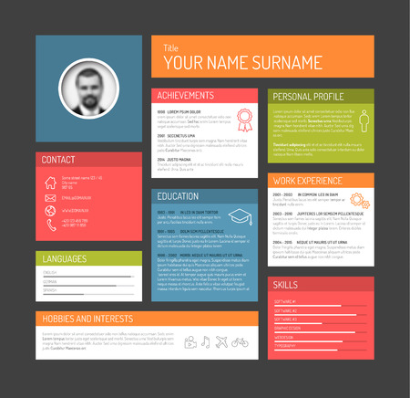 vitae: Vector minimalist cv  resume template dashboard profile - dark version Illustration
