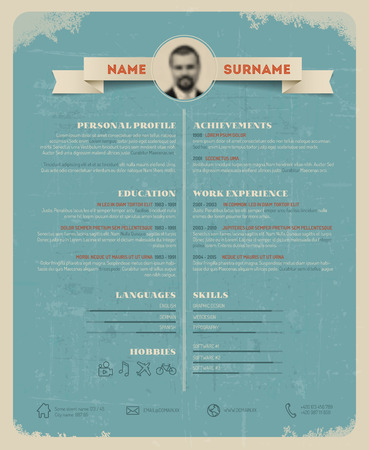 description: Vector original minimalist cv  resume template - retro version