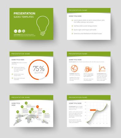 sjabloon: Vector sjabloon voor de presentatie dia's met grafieken en diagrammen - groene en rode versie