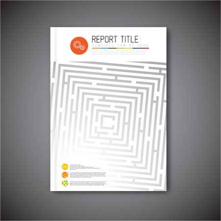 cover book: Modern Vector abstract brochure, report or flyer design template with maze  labyrinth