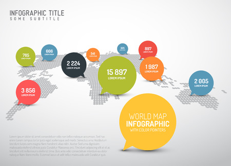 organisation: Light World map with simple pointer marks (speech bubbles) -  minimalist infographics concept