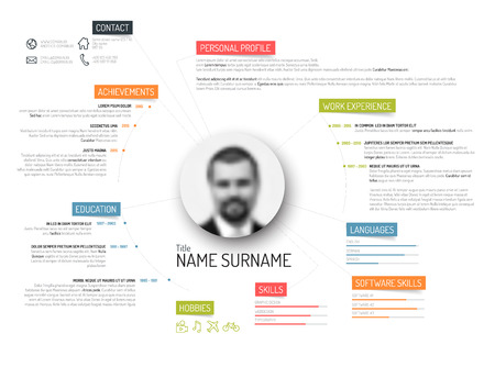 Vector original minimalist cv / resume template - creative version with colorful headings Çizim