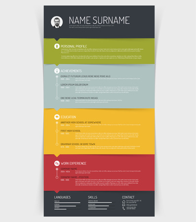 Vector minimalist cv / resume template with colorful sections and simple line icons