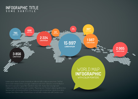 speech marks: Light World map with simple pointer marks (speech bubbles) -  minimalist infographics concept - dark version