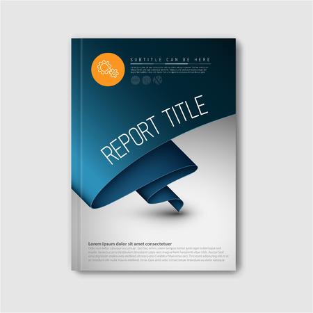 モダンな抽象パンフレット本チラシ デザイン濃い青紙のテンプレート  イラスト・ベクター素材