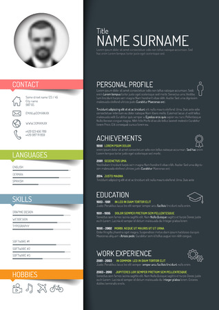minimalist cv  resume template - dark color version Иллюстрация