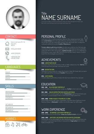 minimalistischen cv  Resume-Vorlage - dunkle Farbe Version Illustration
