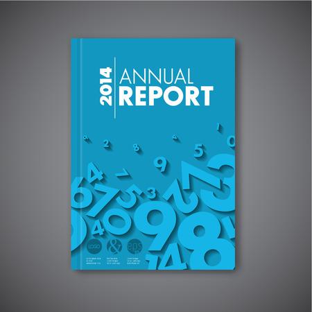 現代ベクトル抽象パンフレット本チラシ デザイン テンプレート - 青色の数字とバージョン