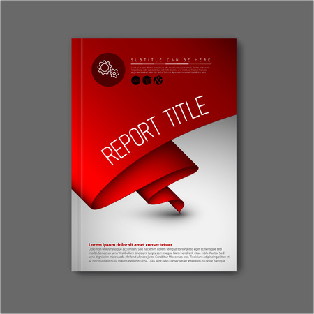 Modern Vector abstract brochure  book  flyer design template with dark red paper