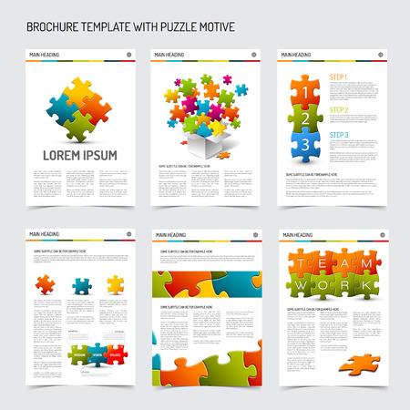 퍼즐 요소와 현대적인 브로셔 전단지 디자인 템플릿 집합