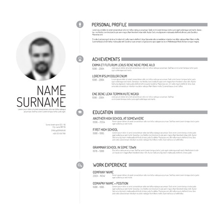 vitae: Vector minimalist cv  resume template - minimalistic black and white version