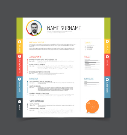 curriculum: Vector minimalist cv  resume template - color version with a profile photo