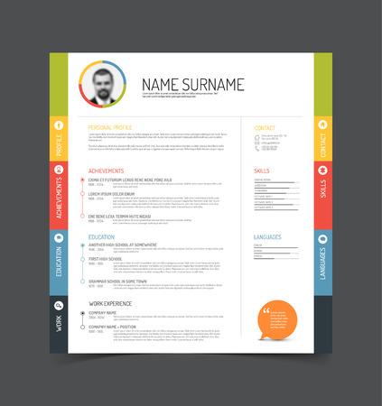 Vector minimalistischen cv  Resume-Vorlage - Farbversion mit einem Profilfoto
