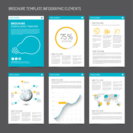ornage: Set of modern brochure flyer design templates with graphs, charts and other infographic elements - blue and orange version
