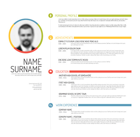profile: Vector minimalist cv  resume template - minimalistic colorful version Illustration