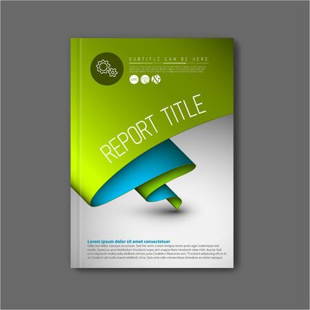 現代ベクトル抽象パンフレット本チラシ デザインの緑と青の紙テンプレート