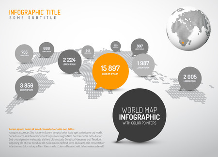 organisation: Light World map with simple pointer marks (speech bubbles) -  minimalist black and white infographics concept
