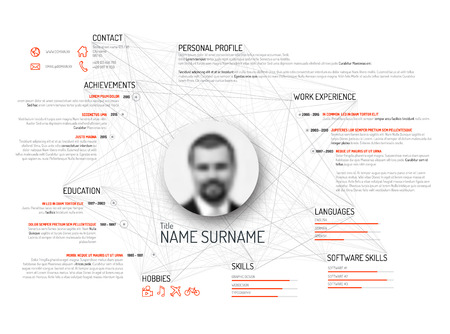 curriculum: Vector original minimalist cv  resume template - light black and white version with red color