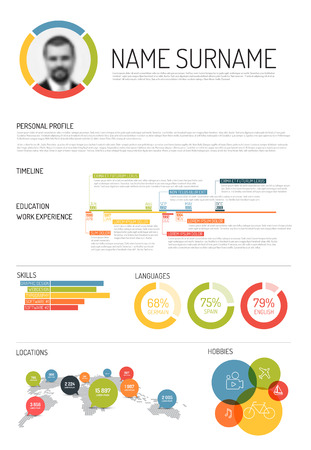 curriculum: Vector original minimalist cv  resume template - with lot of infographic elements