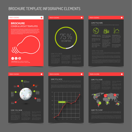 Set of modern brochure flyer design templates with graphs, charts and other infographic elements - red  and green dark version