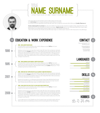 Vector minimalist cv / resume template with timeline - green version Ilustracja