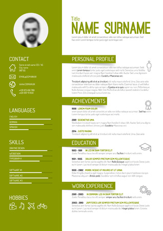 minimalist: Vector minimalist cv  resume template - green version