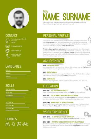 cv: Vector minimalista cv  resume template - versione verde